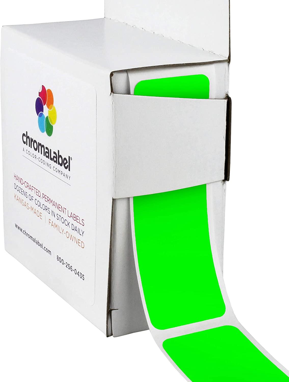 ChromaLabel 1 x 3 Inch All Purpose Permanent Color-Code Rectangle Labels, 250/Dispenser Box, Fluorescent Green