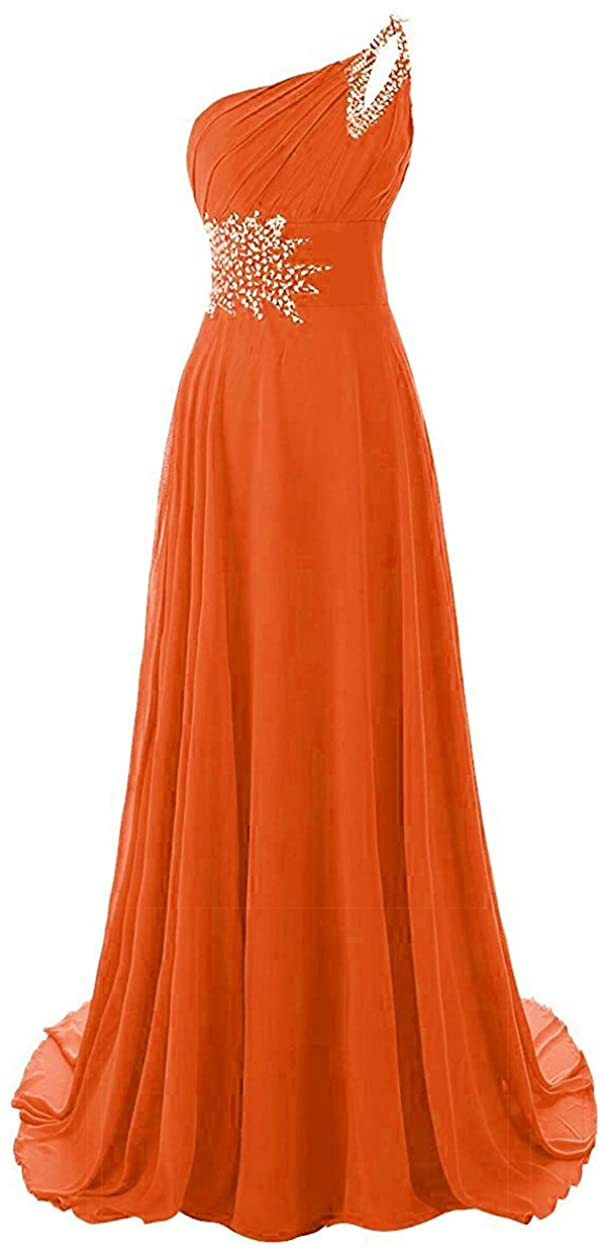 Beilite One Shoulder Gradient Color Chiffon Formal Evening Dress Long Party Gown