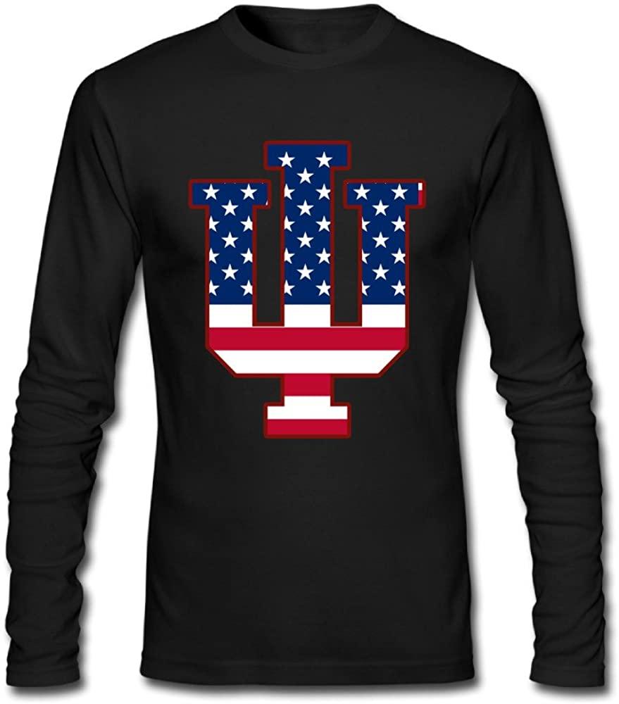 AuSin Men's Indiana IU Flag University Bloomington Casual Long Sleeve Shirt Black