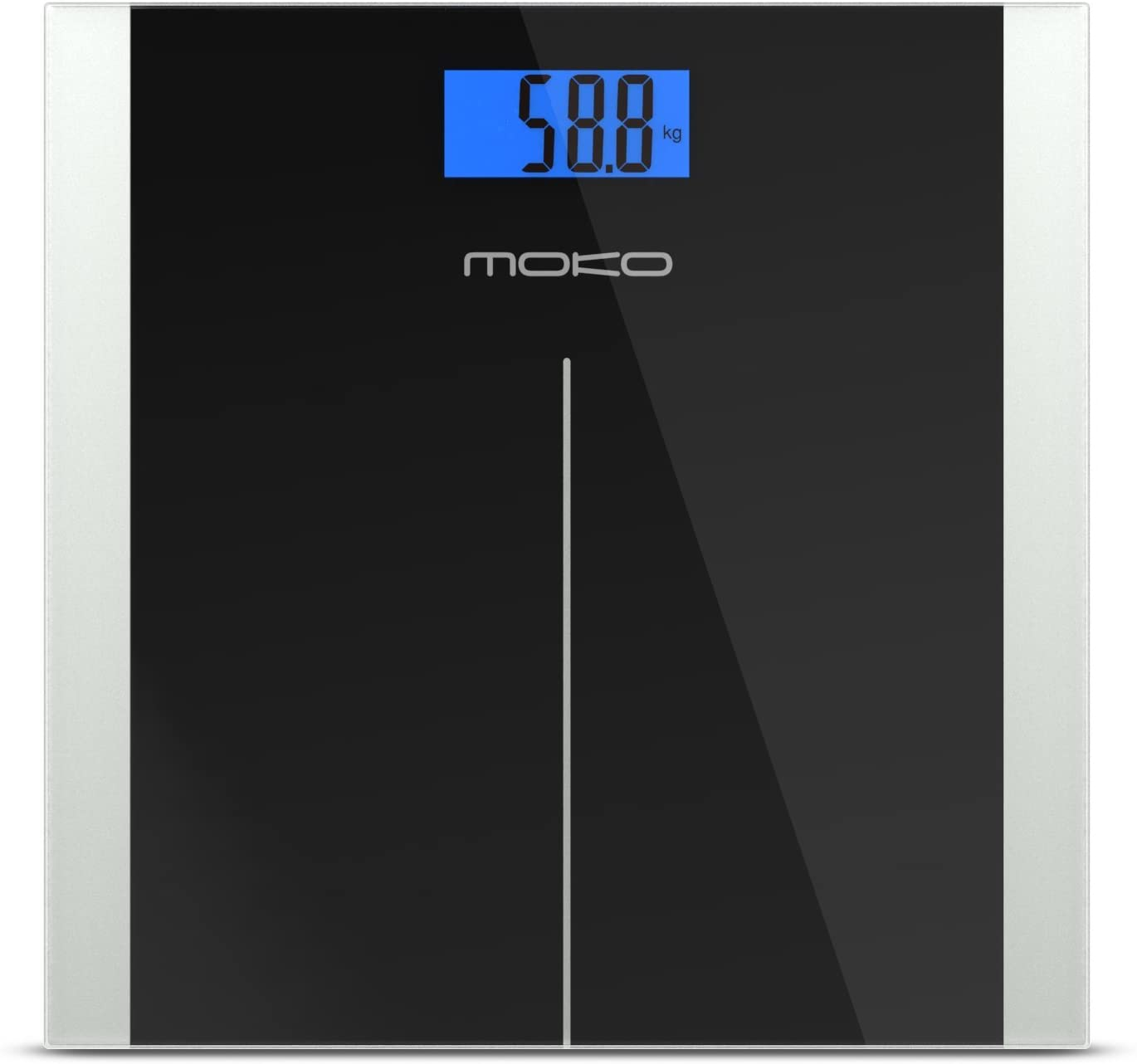 MoKo Wide Platform Digital Body Weight Bathroom Scale, Premium High Precision Accuracy, Holds up to 396lb/180kg, Black