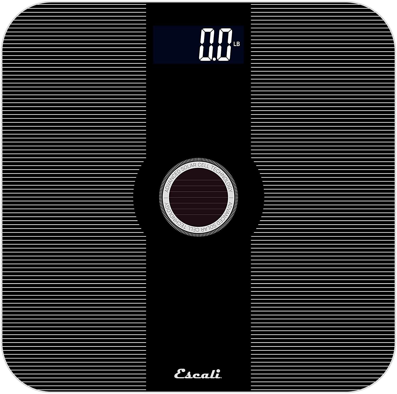 Escali Solar Powered/USB Bathroom Scale, 400 Pound Capacity, Black