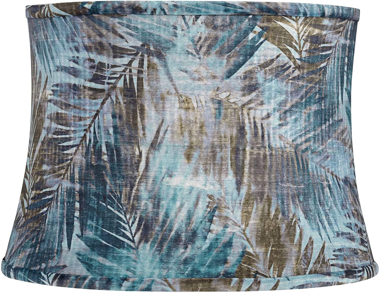 Blue Velvet Palm Leaf Drum Lamp Shade 14x16x11.5 (Spider) - Springcrest