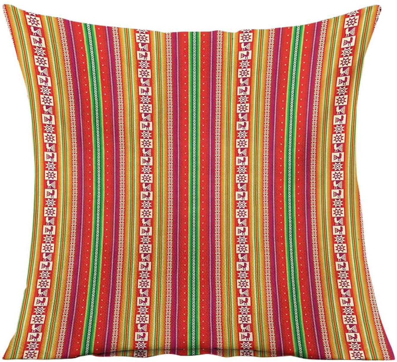 Native American Throw Pillow Cushion Cover,South American Colorful Pattern with Birds Bolivian Traditional Borders Pillowcase Decorative for Patio Couch Sofa Home Car Couch,16x16 Inches,Multicolor