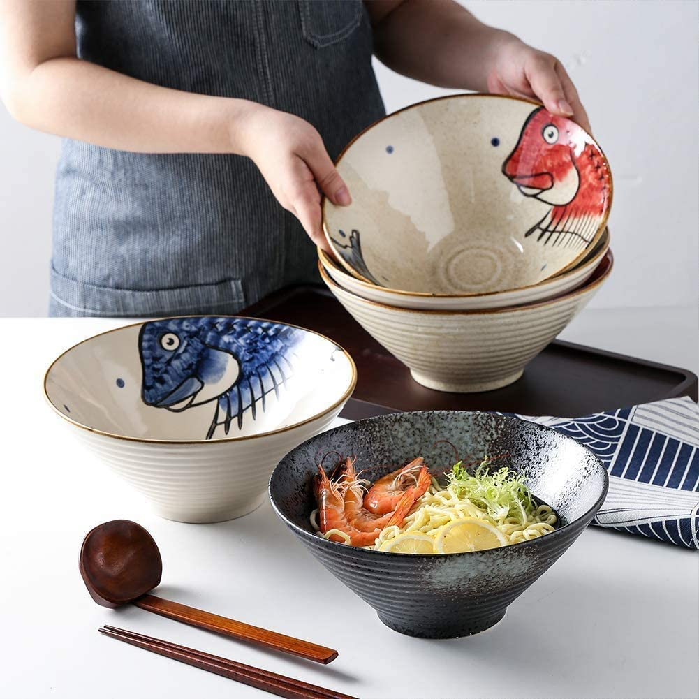 Ceramic Japanese Ramen Bowls, 6 Sets (18 Piece) 60 Ounce, with Matching Spoon and Chopsticks for Udon Soba Pho Asian Noodles, Large