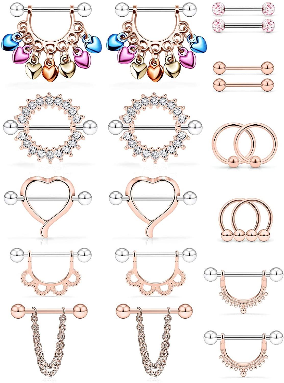 Ftovosyo 20Pcs Nipple Ring 14G Surgical Steel Tongue Nipplerings Barbell Bar Hoop Rings Retainer CZ Heart Chain Dangle Nipple Piercing Jewelry for Women Men 14MM (9/16 Inch)
