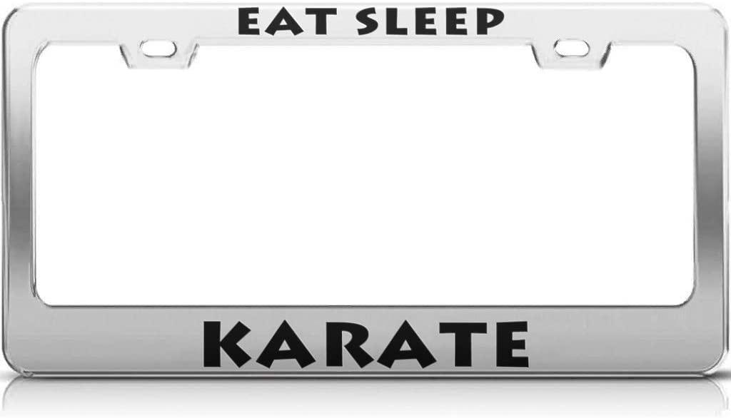 Fairyshop Eat Sleep Karate License Plate Frame Aluminum UV Print License Plate Cover and Screws for Boys Girls