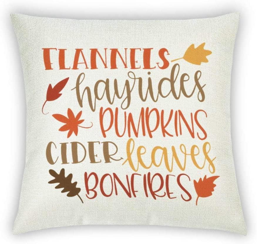 BYRON HOYLE Hayrides Pumpkins Thanksgiving Fall Decorative Cotton Linen Pillowcase Autumn Farmhouse Throw Pillow Cover 18x18 Inch Outdoor Cushion Cover Home for Couch Sofa