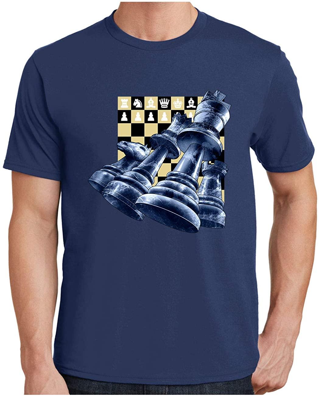 HARD EDGE DESIGN Men's Chess Pieces Plus Size Crew Neck T-Shirt, 5X-Large, Navy
