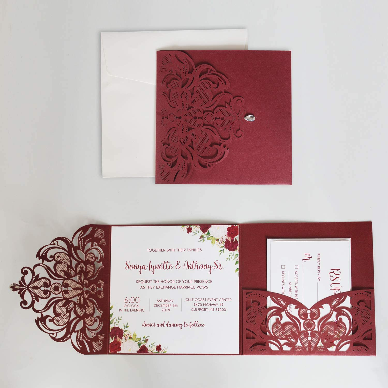 Picky Bride Elegant Wedding Invitations Rose Wine Laser Cut Wedding Invites for Burgundy Wedding - Set of 50pcs