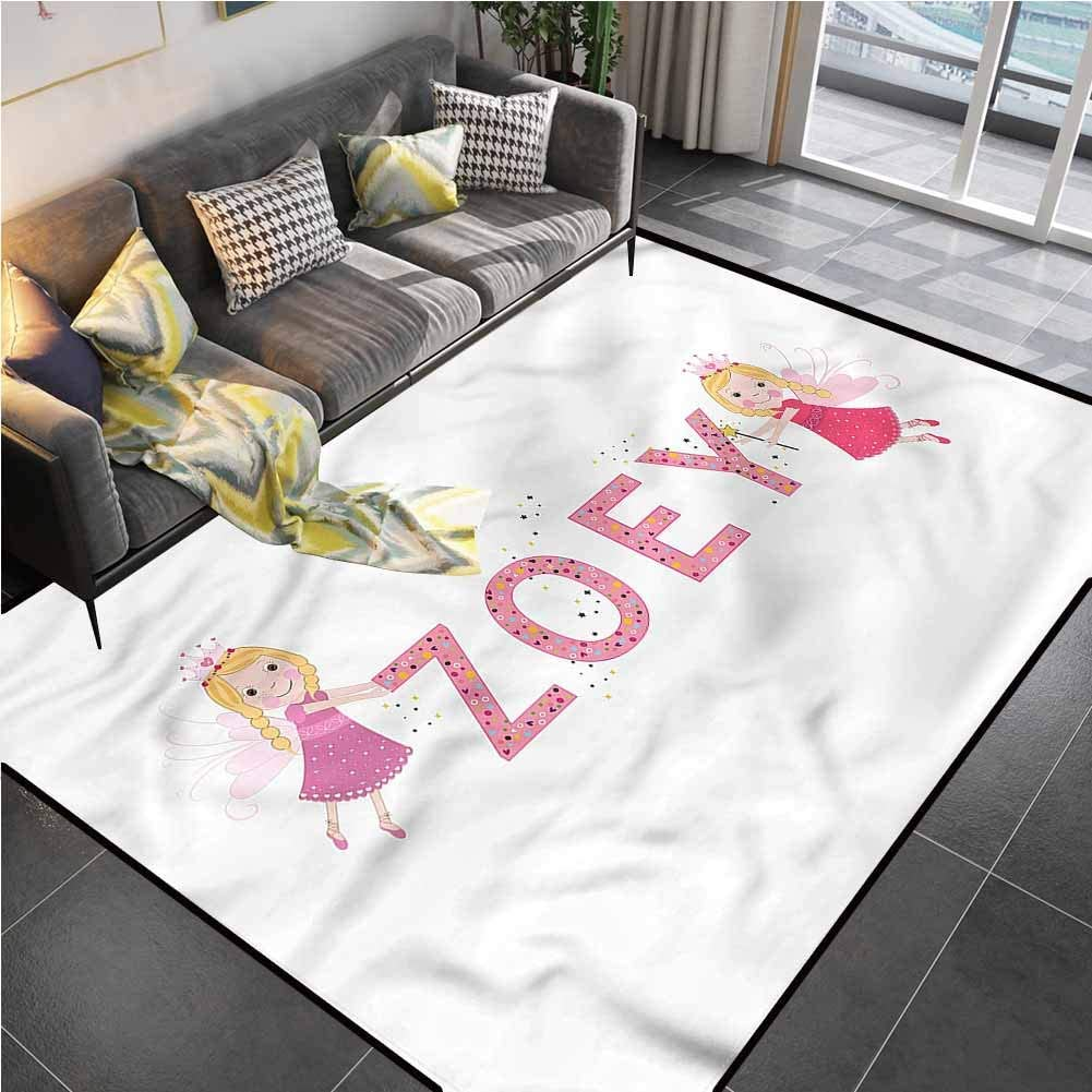 Area Rugs Print Large Carpet Zoey,Feminine Baby Girl Name Rugs for entryway for Living Playing Dorm Room Bedroom 5'7