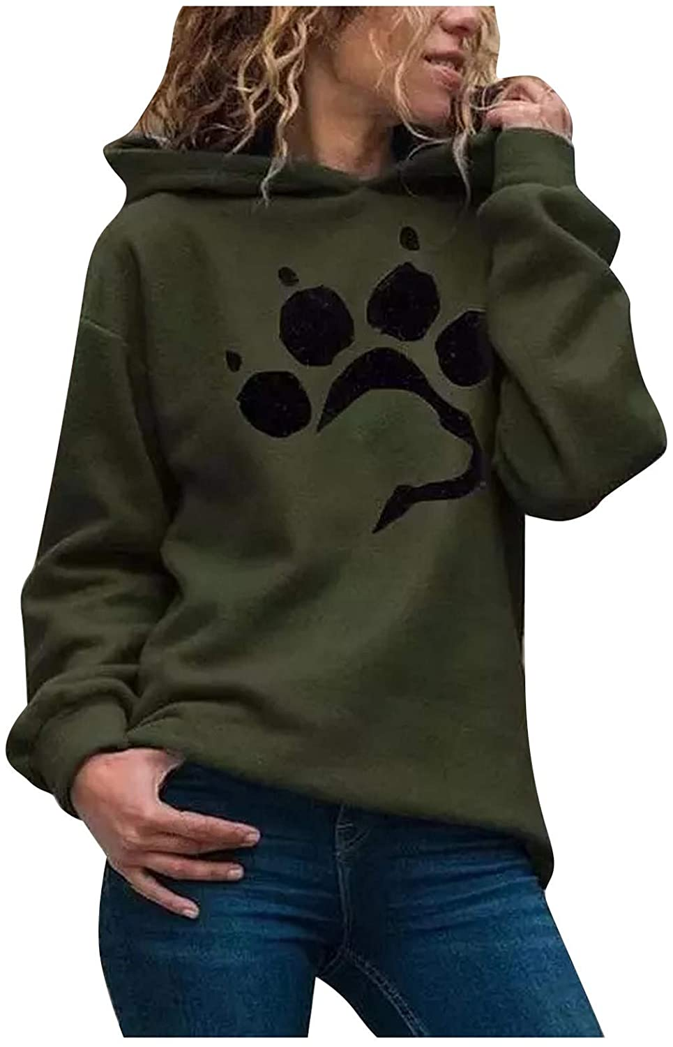 Women's Cat paw Printed Hoodie Winter Warm Casual Loose Hooded Sweatshirt Long Sleeve Pocket Sweater(USA in Stock)