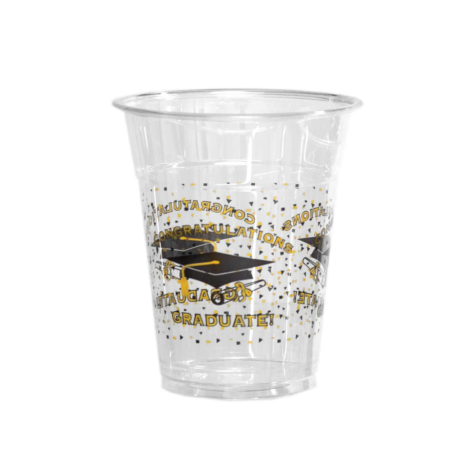 Party Essentials N122094 Soft Plastic Cup, 12-Ounce Capacity, Graduation Printing (Case of 500)