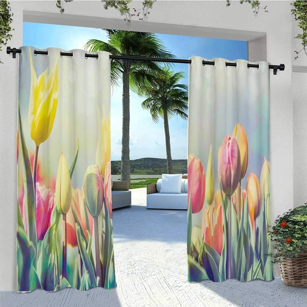 Adorise Outdoor Patio Curtain Tulips Flower Bed in Park Serene Landscape Happiness Fresh Spring Environment Image Pergola Outdoor Drapes Durable, Water-Resistant, Opaque Multicolor W120 x L84 Inch