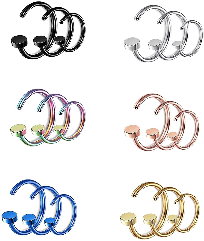 YILIN 12-18Pcs 18G Stainless Steel Nose Ring Hoop Cartilage Hoop Septum Piercing