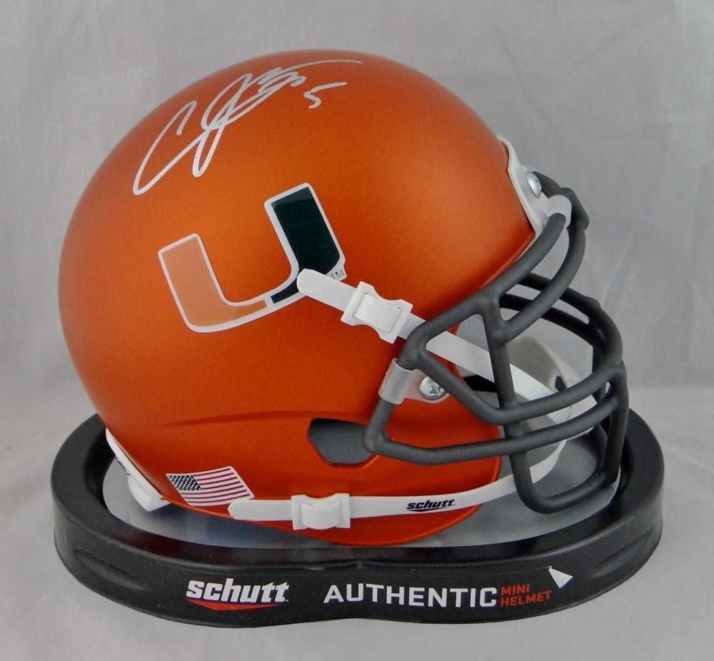 Andre Johnson Signed Miami Hurricanes Orange Schutt Mini Helmet JSA W Auth *Silv - Autographed College Mini Helmets