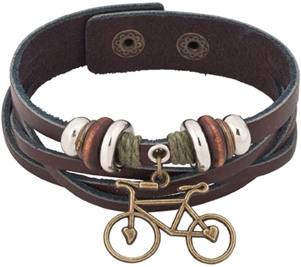 JewelryJo Infinity Love Bike Jesus Crown Butterfly Music Note Bass Guitar Braided Rope Wristband Leather Bracelet for Men Women