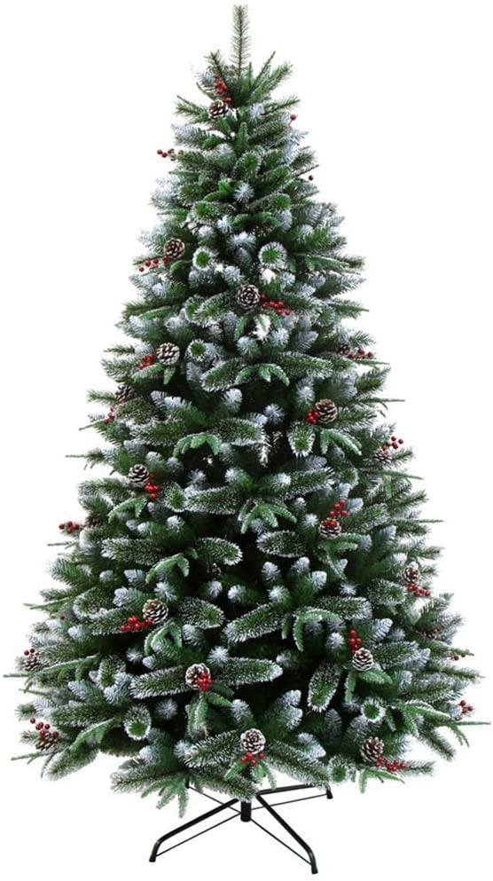 XH&XH 6.8Ft Christmas Pine Tree Decoration Encrypted Zippered Spruce Christmas Tree Snow Effect Artificial Christmas Tree-Green 210cm (6.8Ft)