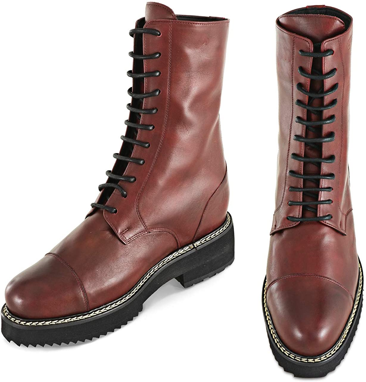 Height Increasing Elevator Shoes - Boots with Upper in Burgundy Calf Leather up to 6 inches – Varanasi