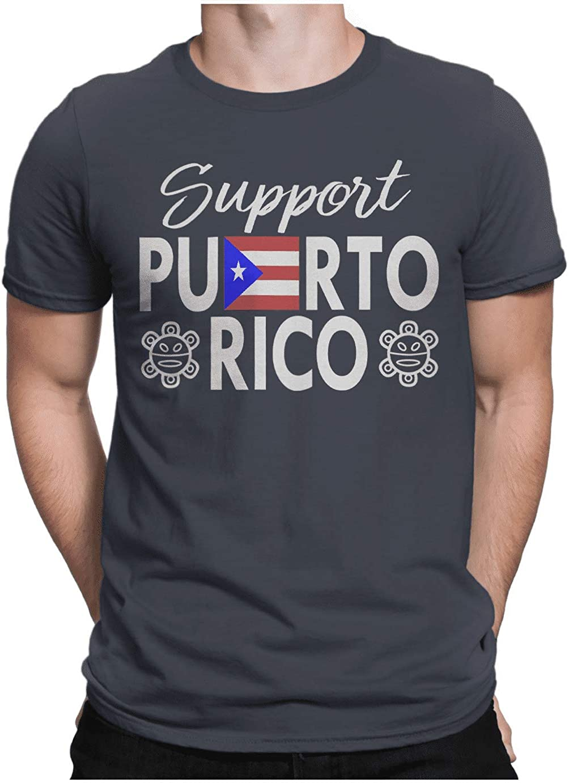 HARD EDGE DESIGN Men's Support Puerto Rico Crew Neck T-Shirt, Large, Navy