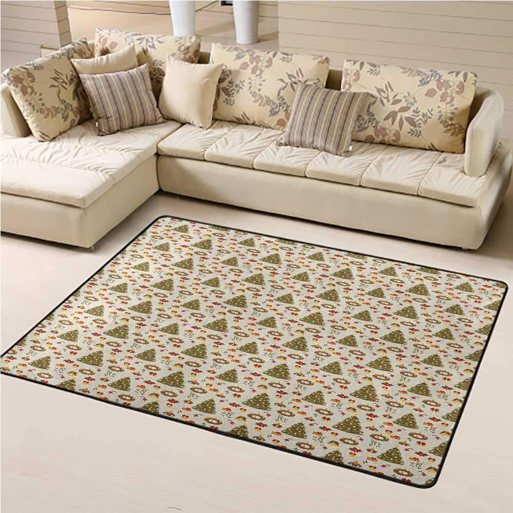 Carpets for Living Room Christmas for Kids Playroom New Zealand Poinsettia Flower Xmas Trees Surprise Boxes Artwork Culture 6 x 9 Ft Olive Green Yellow