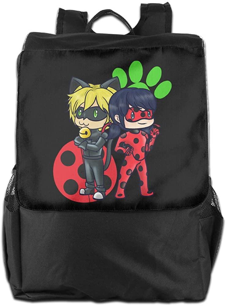 Amla Lia_76 Miraculous Ladybug and Cat Noir Logo Outdoor Backpack Travel Bag