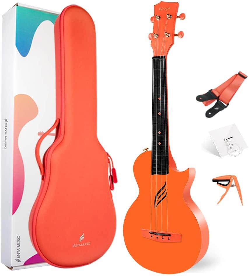 Enya Concert Ukulele Nova U 23'' Carbon Fiber Travel Ukulele with Beginner Kit includes online lessons, case, strap, capo and strings (Orange)