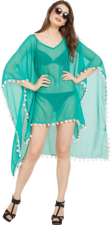 Elina fashion Women's Sexy Pom Trim Kaftan Bikini Bath Swimsuit Beach Wrap Cover Ups Pareo Canga Swimwear