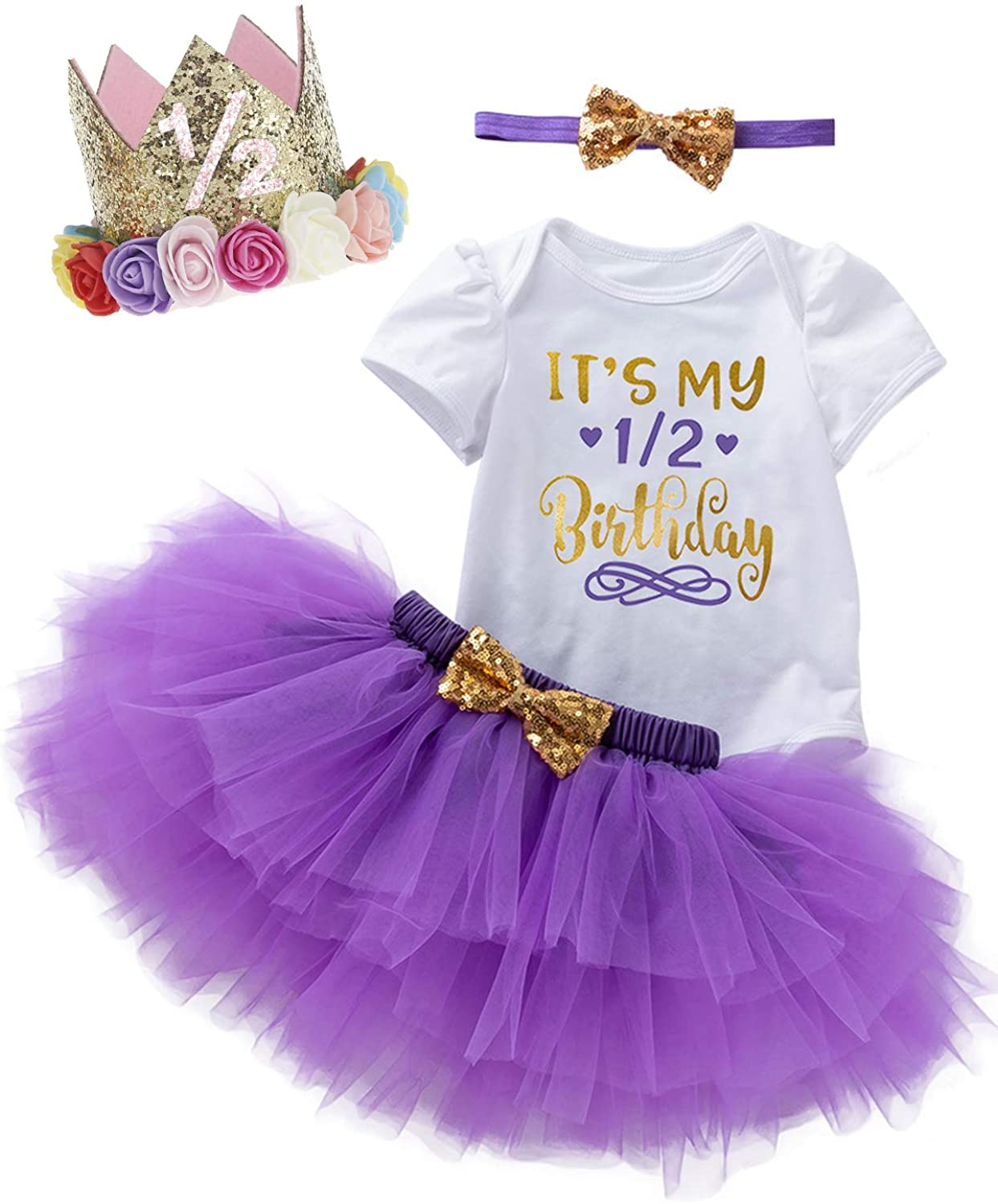 Shalofer Baby Girls Birthday Outfit Tutu Lace Skirt Set with Crown and Headband