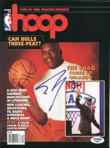 Magic Shaquille O'Neal Signed Magazine 1992 Hoop PSA/DNA #D00363 - Autographed NBA Magazines