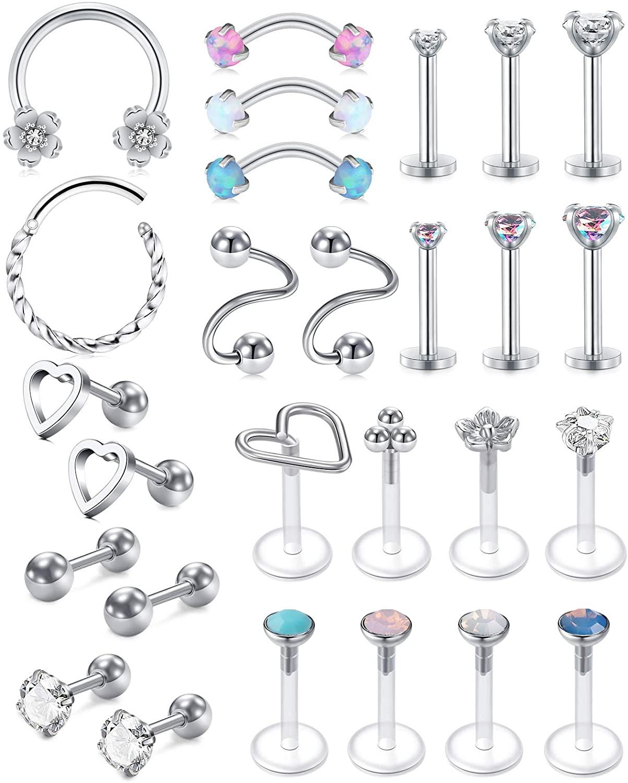 AVYRING 16g Cartilage Earrings Hoop Studs for Women Forwards Helix Earring Hoop Rook Daith Conch Tragus Earrings Stainless Steel Piercing Jewelry