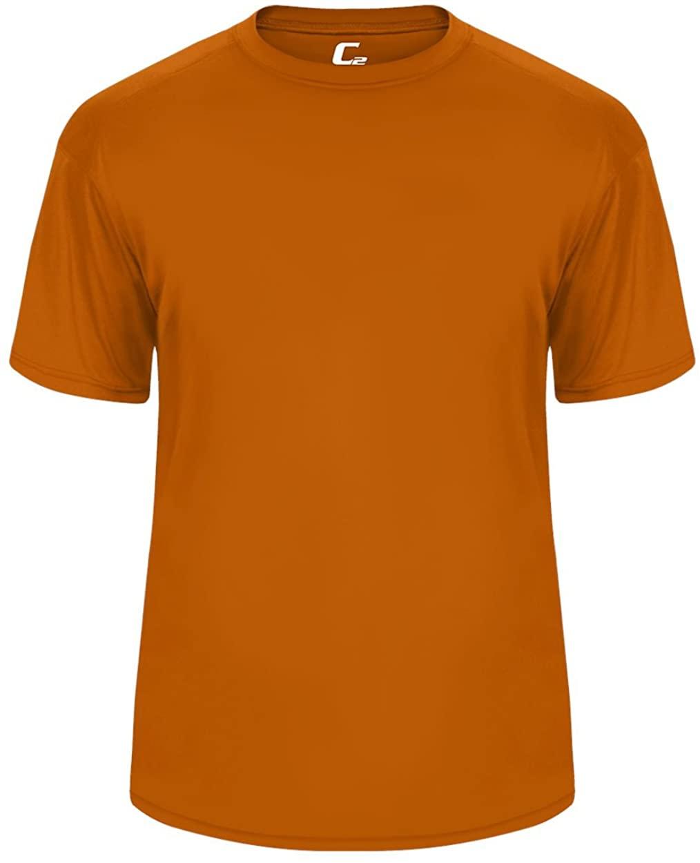 Orange Youth Medium Short Sleeve Performance Wicking Athletic Sports Shirt/Undershirt/Jersey
