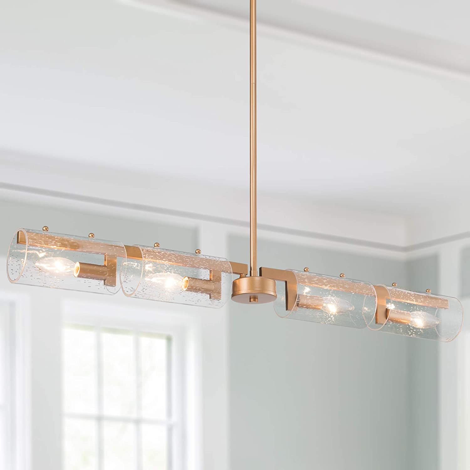 """LOG BARN Antique Brass Chandelier, Gold Lighting for Kitchen Island with Seeded Glass Shade, Modern Dining Room Lighting Fixtures Hanging, 4 Lights, L34.5"""" x W3.5"""""""
