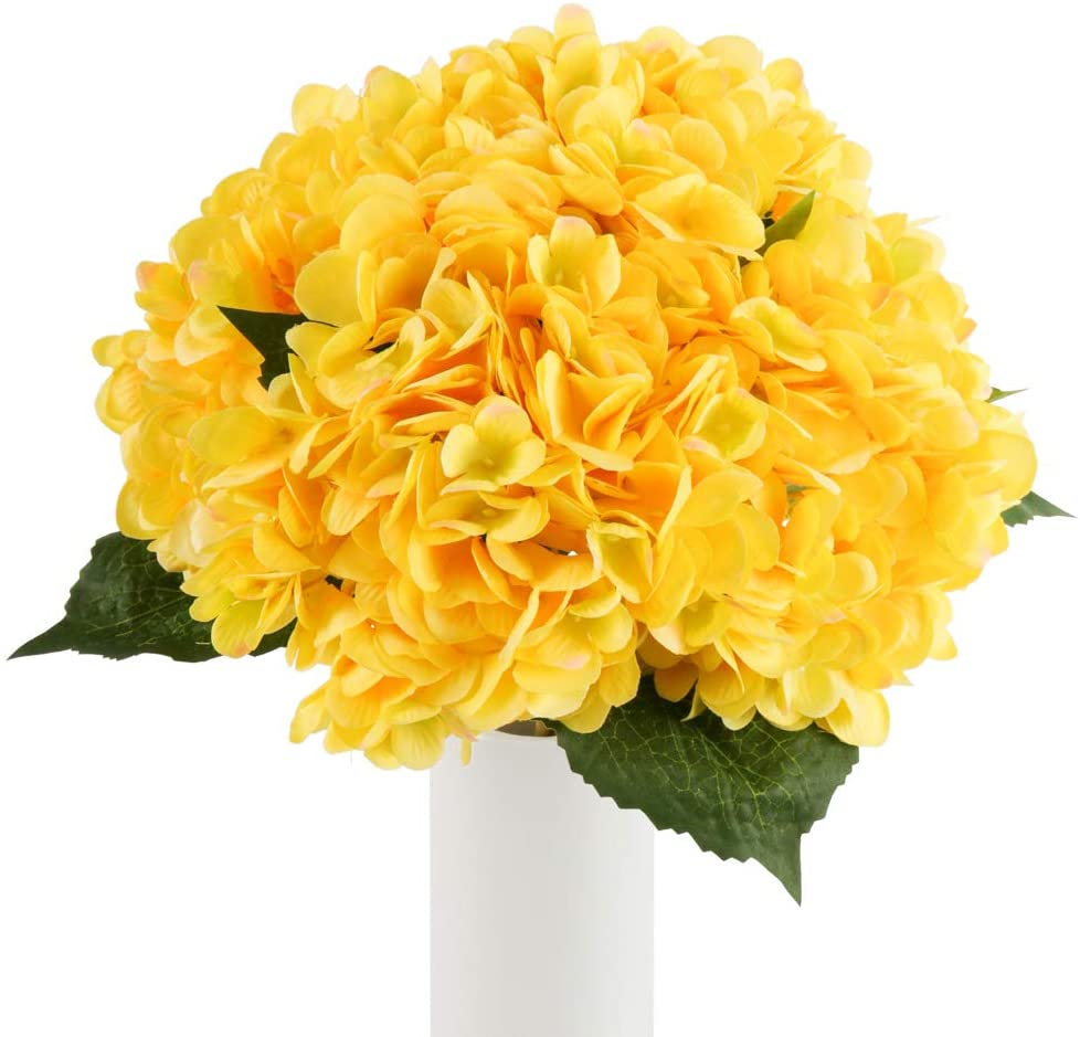 Artificial Flowers Hydrangea Silk Flowers 5PCS Large Heads Faux Hydrangea with Stems for Wedding Centerpieces Bouquets Home Party Decor (Yellow)