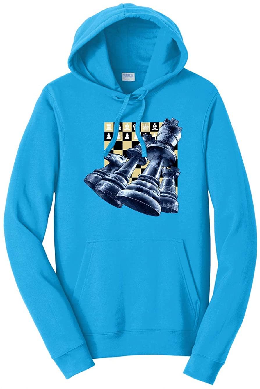 HARD EDGE DESIGN Men's Chess Pieces Hooded Sweatshirt, 2X-Large, Sapphire