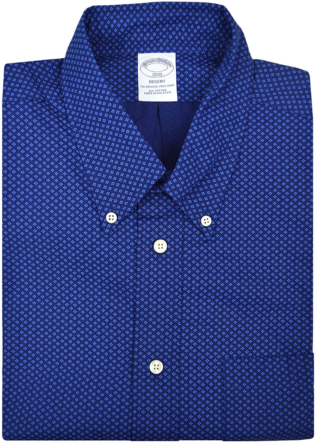 Brooks Brothers Mens 47811 Regent Fit All Cotton The Original Polo Button Down Shirt Navy Blue Clover Print