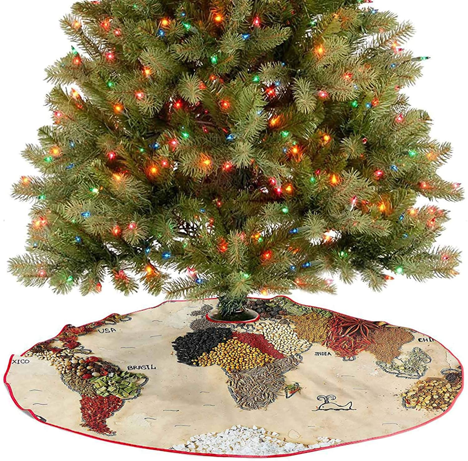Adorise Tree Mat Map of World Made from Different Spices Design with Food Symbols Boho Style Holiday Decor Ornaments A Contemporary Look and Appeal - 48 Inch
