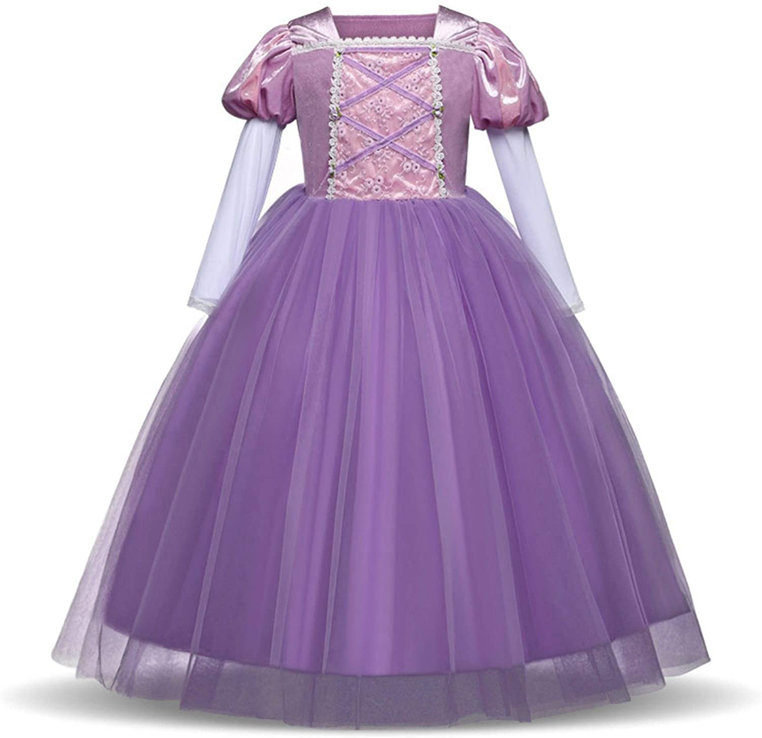 XYXINS Halloween Girl 4 10 Year Cosplay Clothes Party Dress Princess Snow White Dresses for Kids Girls Costume Autumn and Winter (Color : Purple, Kid Size : 4T)