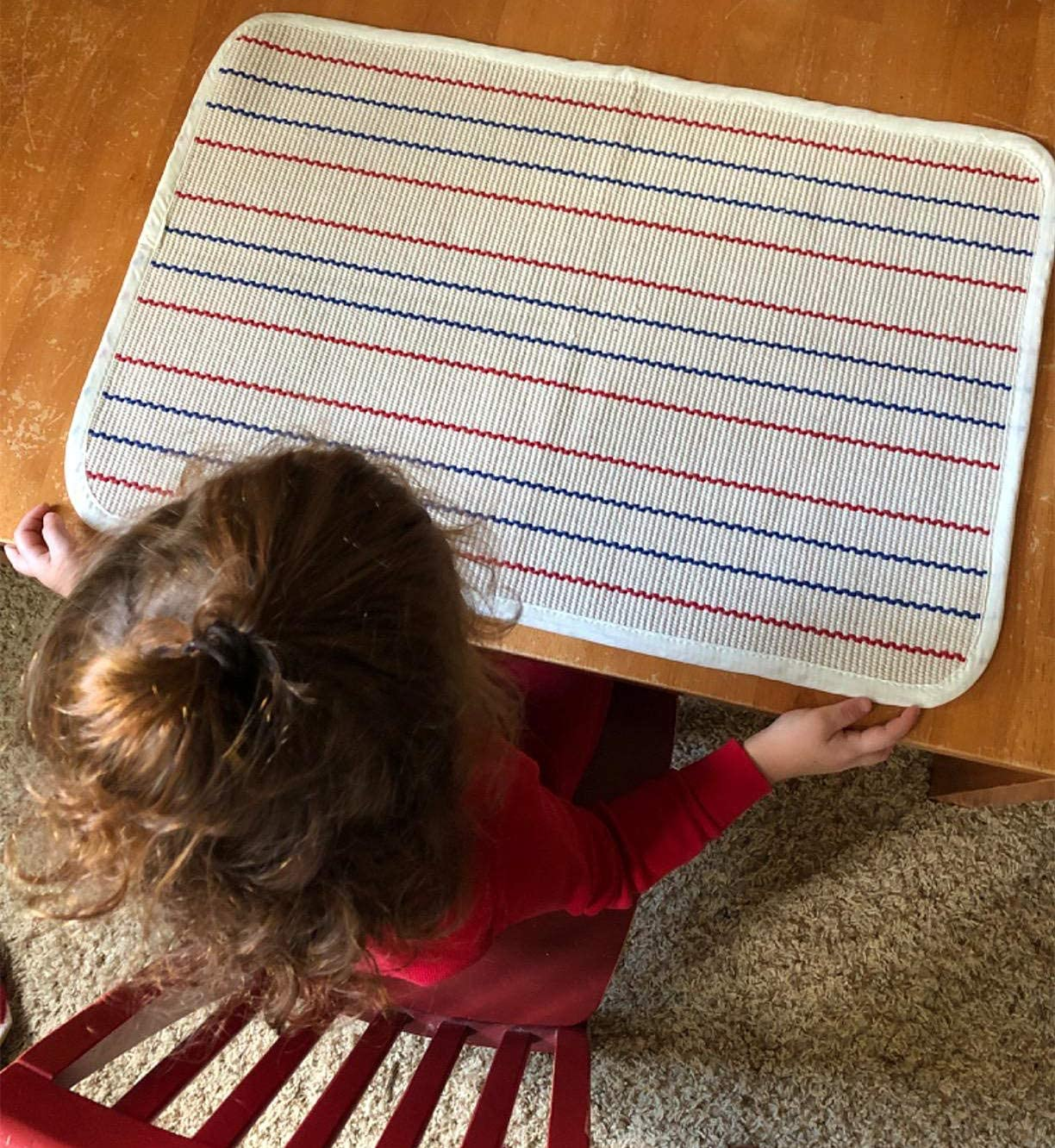 Kids Rug Montessori Mat Children Playing Mat for Nursery Cotton Montessori Working Rug Suitable for Uppercase Letters, 23.6''×31.5'', Stripes