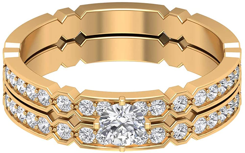 0.71 Ct SGL Certified Diamond Cluster Band Ring, Unique Wedding Anniversary Ring, Solitaire Diamond Gold Bridal Ring Set, Classic Women Eternity Ring, 18K Gold
