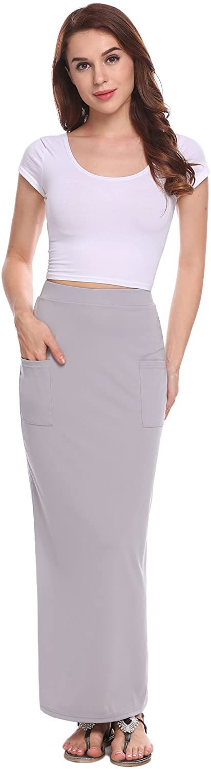 Zeagoo Womens Classic High Waist Stretch Solid Maxi Skirt with Pockets