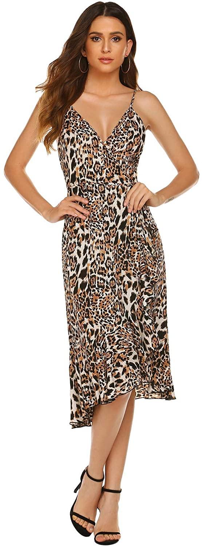 yaserm Women Leopard Slip Sleeveless Waistband Sexy V-Neck Long Dress Party Dress