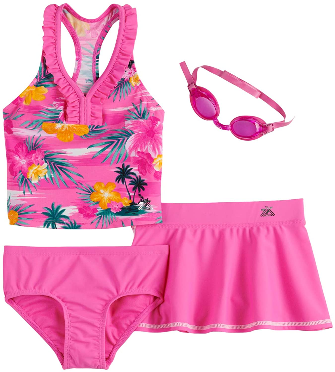 ZeroXposur Girls 4-6x Haven On Earth Tankini, Bottoms, Cover-Up Skirt & Goggles