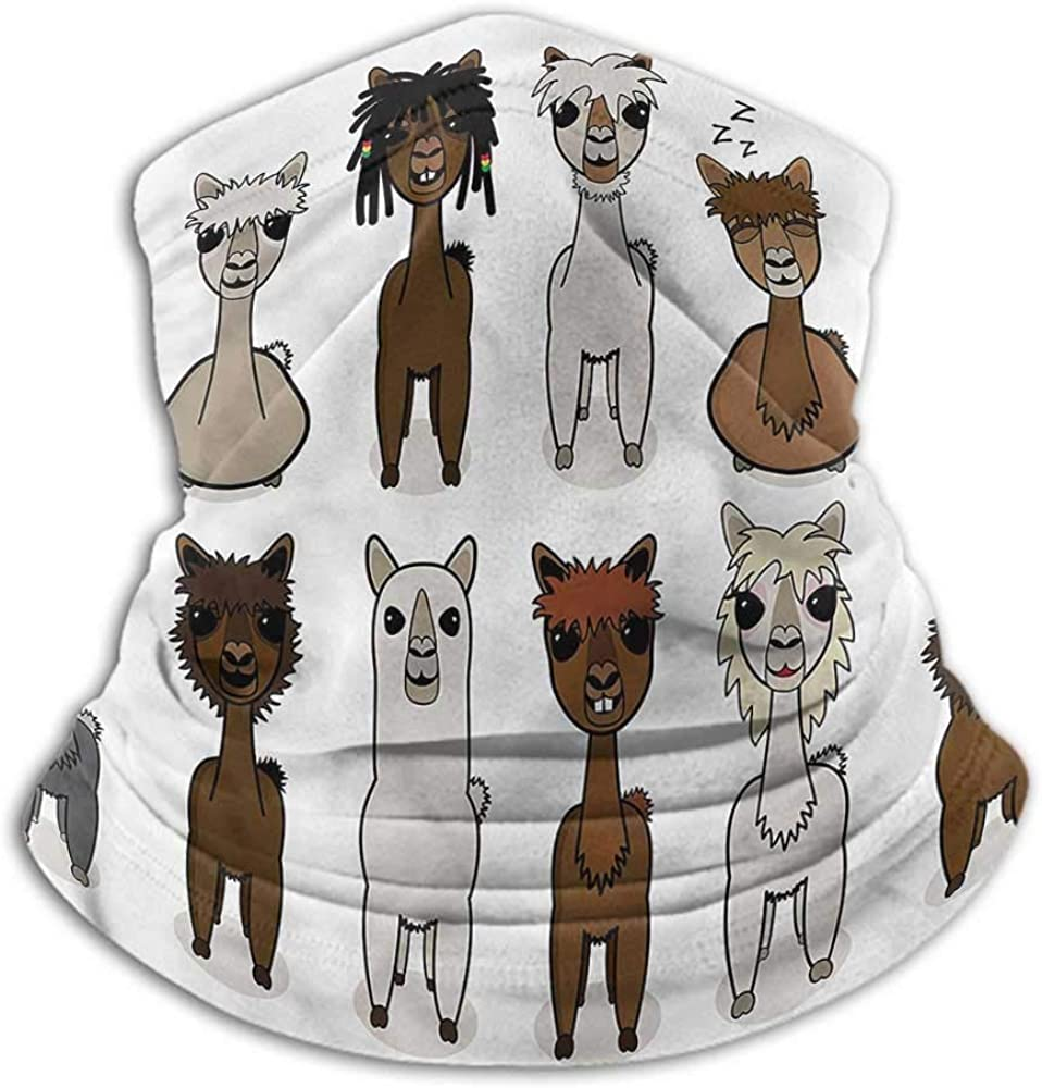 Neck Gaiters For Men Cartoon Recycle Elasticity Stretchable Alpacas Different Hairstyle 10 x 12 Inch