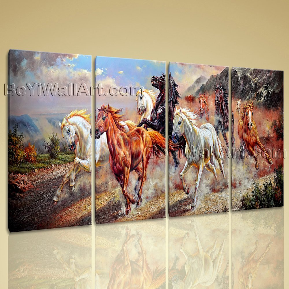 Extra Large Canvas Prints Of Horse Painting 3 Pieces Art Gallery Wrapped Framed, Oversized Animal Wall Art, Living Room, Squirrel