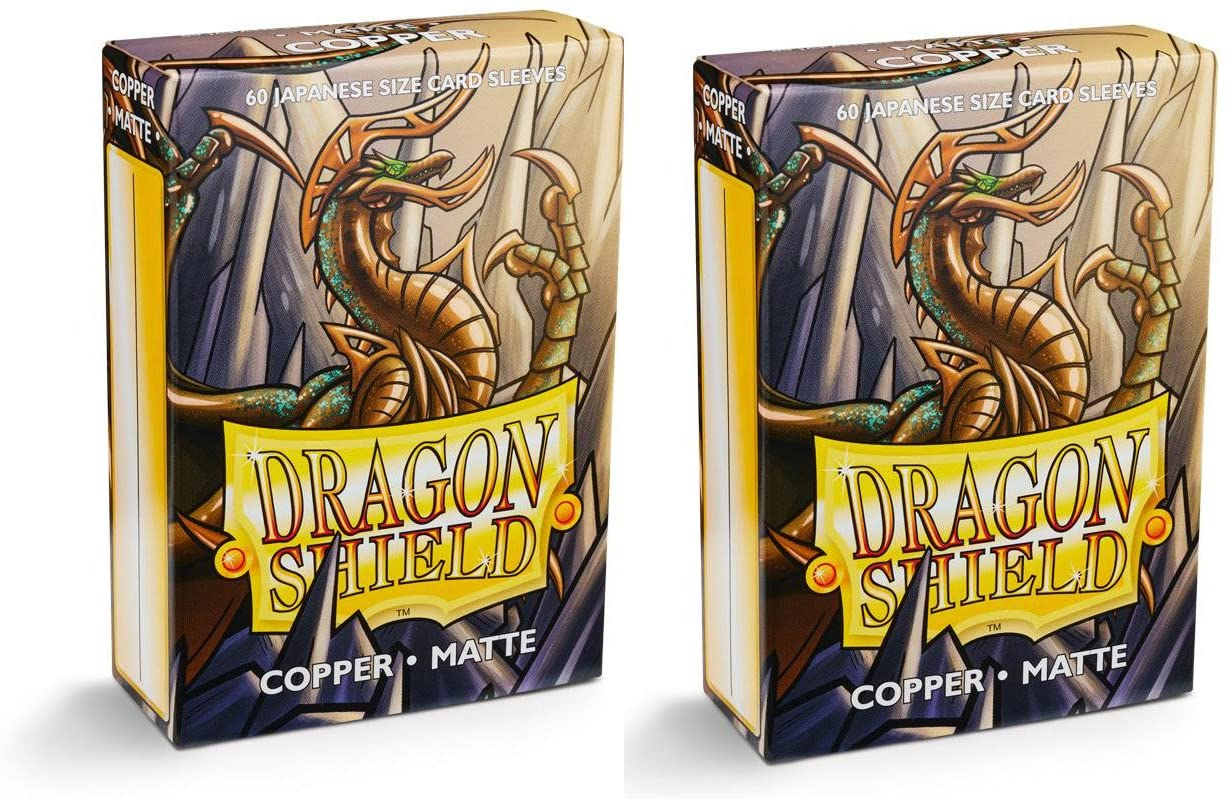 Dragon Shield Bundle: 2 Packs of 60 Count Japanese Size Mini Matte Card Sleeves - Matte Copper