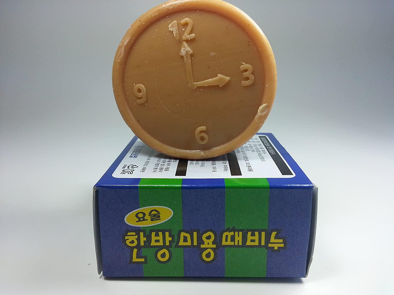 Magic Korean Body Scrub Exfoliating Medicnal Herbs Ddae Soap By Jungjun Industry 정준산업 요술한방미용 때비누 ; Cleanser for Face and Body (3 Oz)