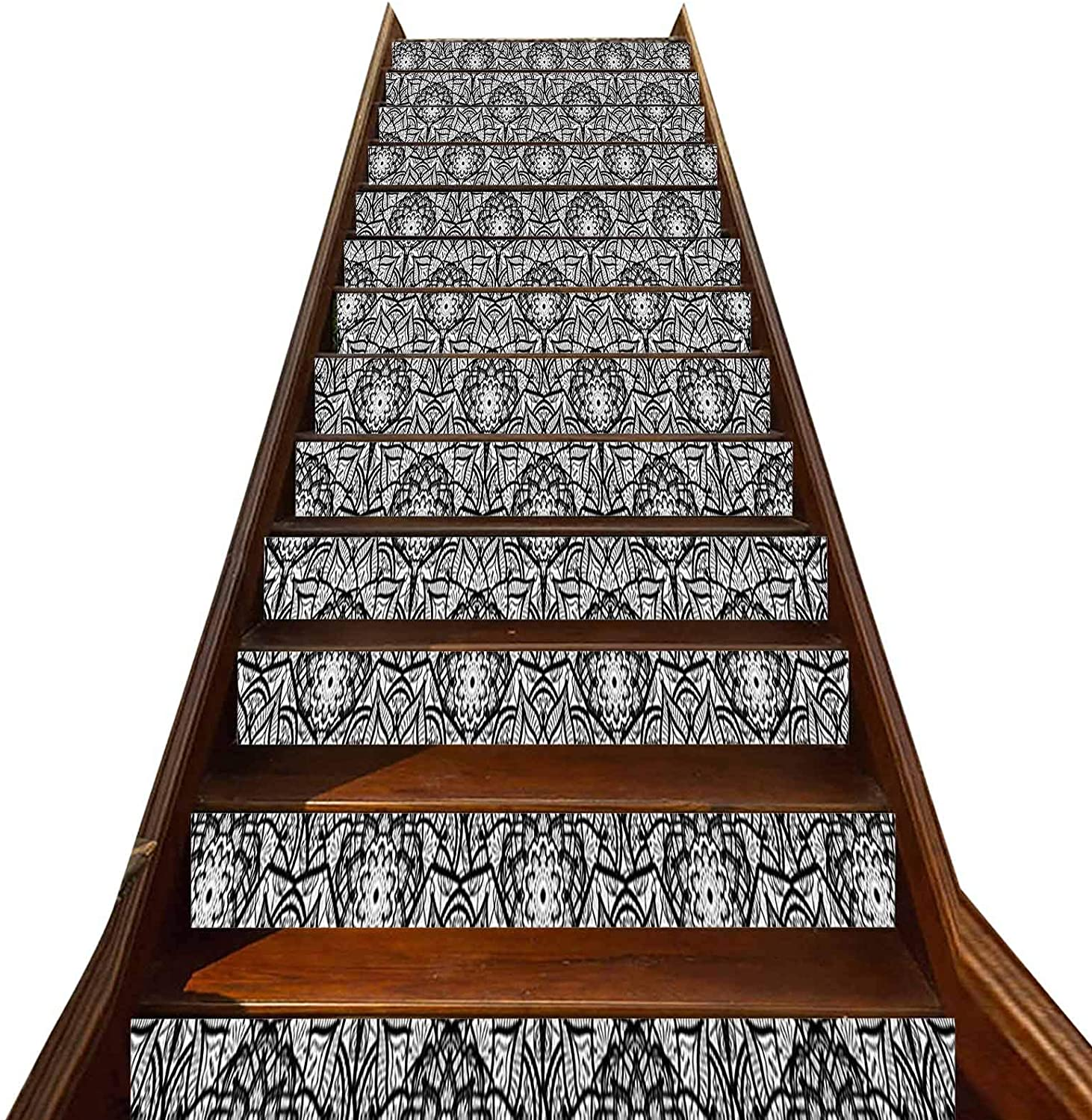 3D Black and White Pattern Stair Stickers 13 PCS,Hand Drawn Flower Pattern with Oriental Inspirations Lace Style Petals Vinyl Self-Adhesive Stair Risers Stickers,for Hotel Home Staircase Riser Decor