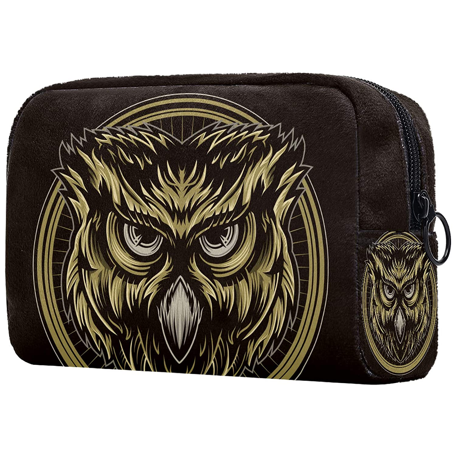 Toiletry Bags Lovely Small Makeup Bag for Purse Travel Makeup Pouch Mini Cosmetic Bag for Women Girls brown circle owl 7.3x3x5.1in