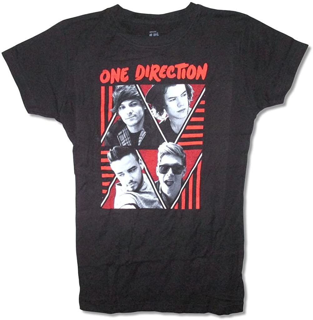 One Direction Triangles Band Image Girl's Juniors Black T Shirt