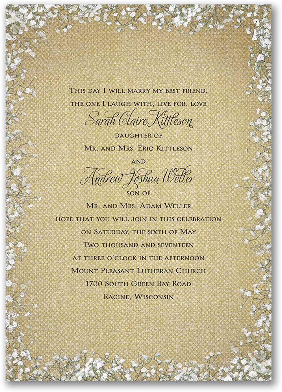 750pk Burlap Blossoms - Invitation-Wedding Invitations